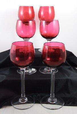 Set of Six Beautiful Vintage Cranberry Tall Stem Hock Wine Glasses