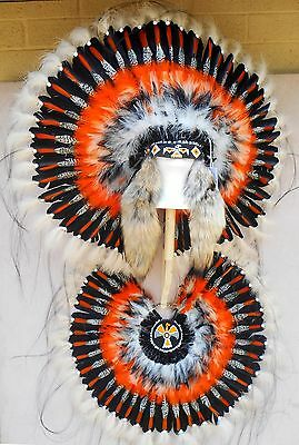 "Genuine Native American Navajo Indian ""THUNDERBIRD"" HEADDRESS and BUSTLE 36"""