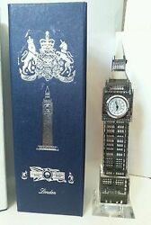 London Big Ben Crystal Clock with lights Table Shelf Showpiece Souvenir  Gift