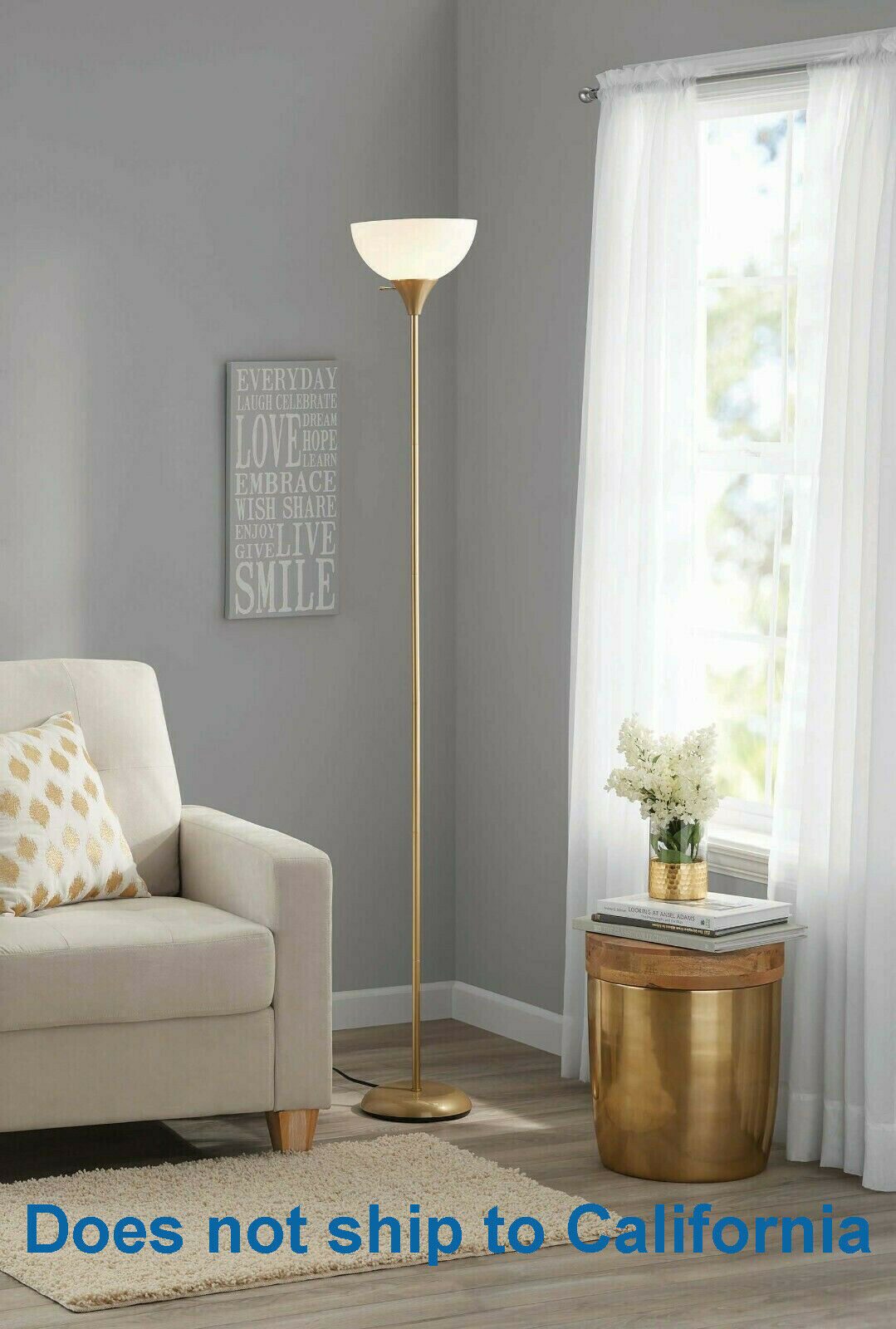 "71"" inch Floor Lamp Modern Light White Shade Standing Gold B"