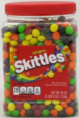 Skittles Original Fruit Candy 54 oz Tub Bulk Vending Candies OVER 3 LBS