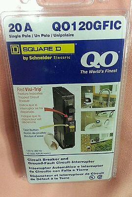 Qo120gfi Square D 1 Pole 20 A 120v Gfi Gfci Breaker New In Box