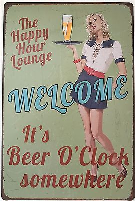 RETRO METAL WALL SIGN TIN PLAQUE VINTAGE FUNNY MAN CAVE BEER GIFT BAR PUB LOUNGE