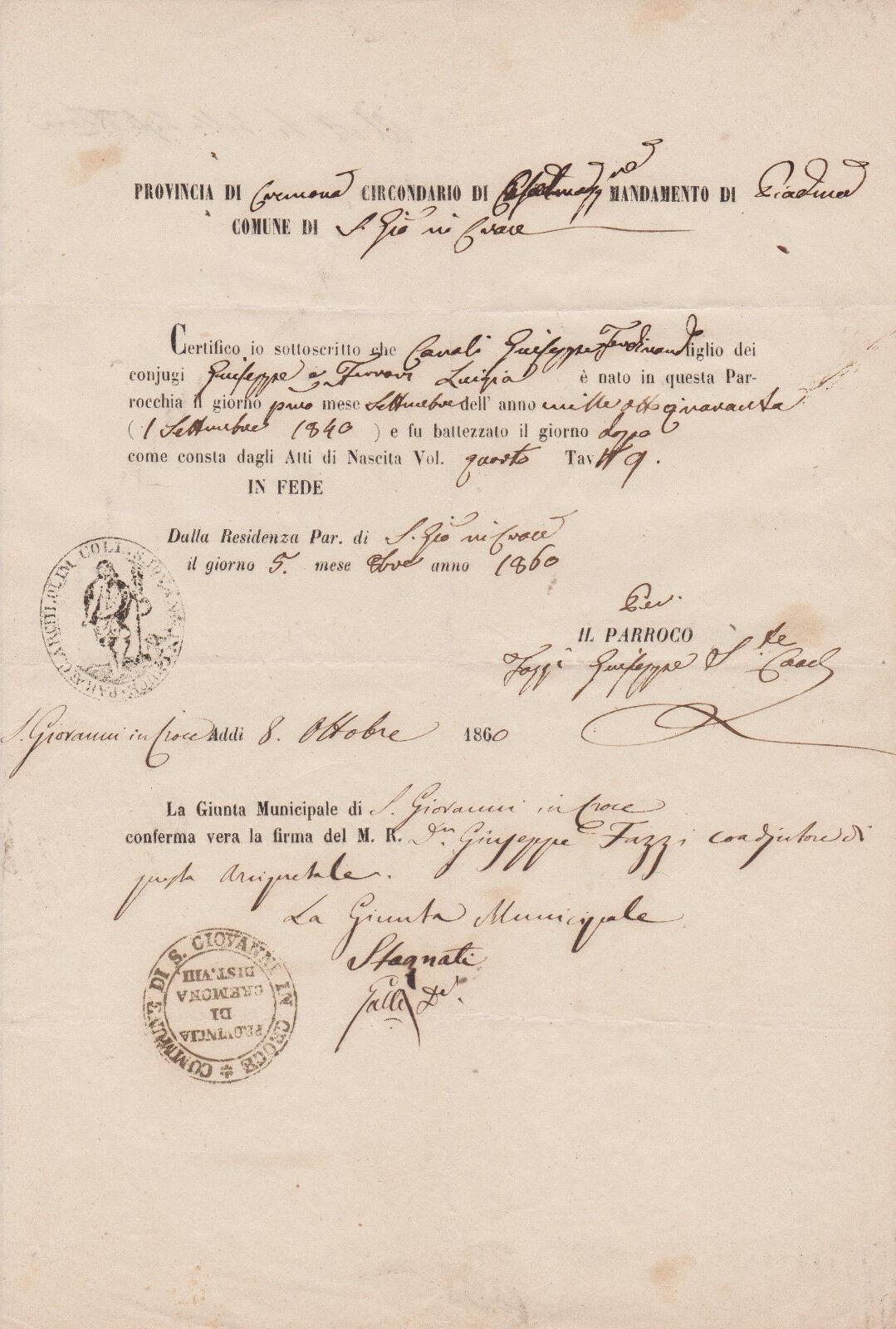 D390-CREMONA-COMUNE DI S.GIOVANNI IN CROCE CERTIFICATO DI BATTESIMO ANNO 1860