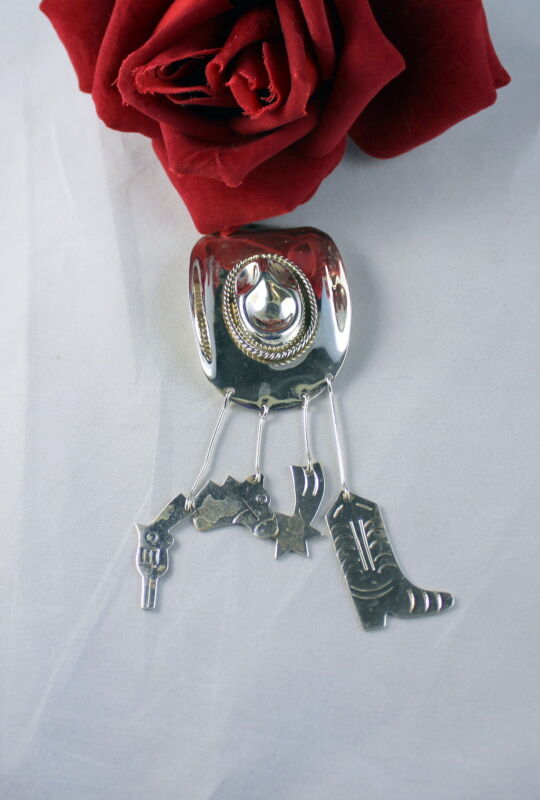 Sterling Silver Mexico Cowbow Hat Horse Gun CHarm Pin CAT RESCUE