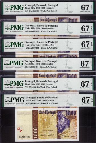 Portugal 6 CONSECUTIVE 1000 Escudos 1996 Pick-188a SUPERB GEM UNC PMG 67 EPQ