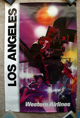 Vintage Original 1970s WESTERN AIRLINE Los Angeles Travel Poster Hollywood art