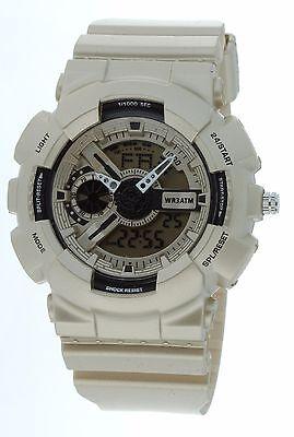 Dual time Fashion Watch Anti SHOCK digital Sports analog Men dusty gold#2