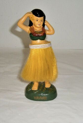 "Vintage 1970s Hawaiian Hula Girl Dashboard Bobble Dancer 7-3/4"" x 3"""