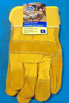 Pair Of Heavy Duty Leather Palm Large Work Gloves Safety Yellow