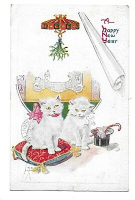 A HAPPY NEW YEAR,WHITE CATS WITH TOP HAT AND GLOVES, POSTCARD 1907-1915 - Happy New Year Top Hat