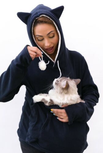 Cat Carrier sweatshirt Kangaroo pouch pocket Navy Blue Dog Hoody Fleece