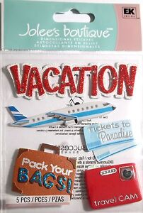 JOLEE'S BOUTIQUE VACATION Plane Holiday Scrapbook Craft Sticker Embellishment