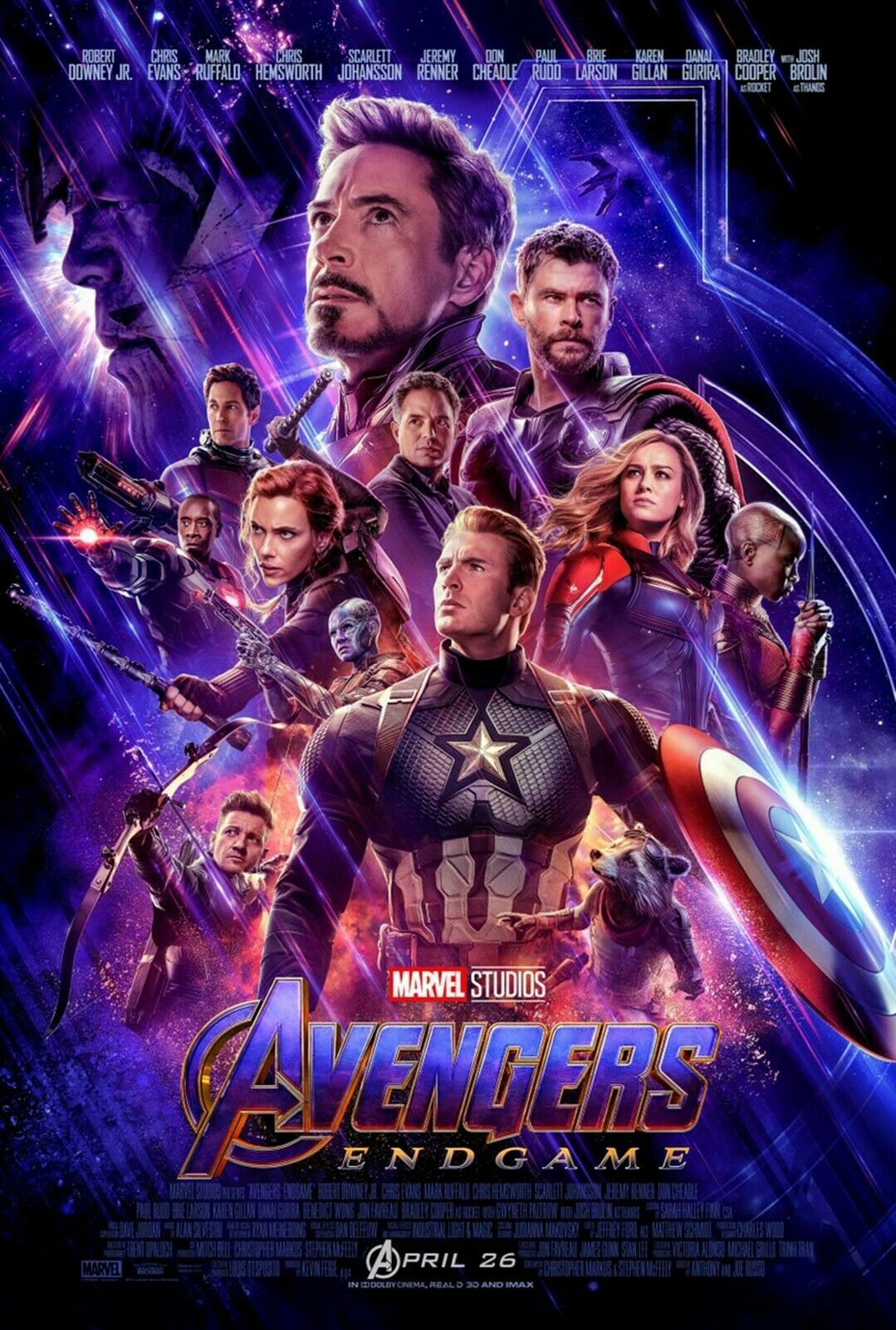 Avengers: Endgame Movie Poster - Iron Man, Captain Marvel, T