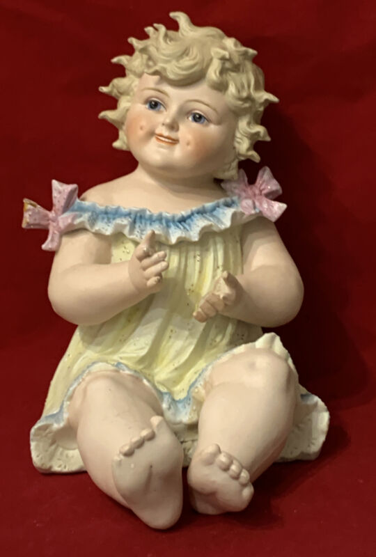 """Large Conta & Boehme Antique German Piano Baby Figurine w/Butterfly 10 1/3"""" Tall"""