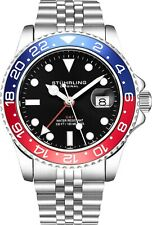 Stuhrling Aqua-Diver 3968 Swiss Quartz Men's Silver Bracelet Black Dial Watch
