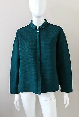 YACCO MARICARD gorgeous green cotton pin-tuck shirt blouse lagenlook One Size for sale  Shipping to Ireland