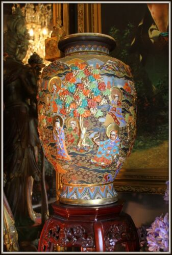 "Grand Colossal   ""Japanese Satsuma Vase""   Impeccable!  (24.5"" High x 15"" Wide)"