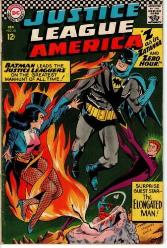 JUSTICE LEAGUE OF AMERICA #51 1967 ZATANNA COVER & APPEARANCE
