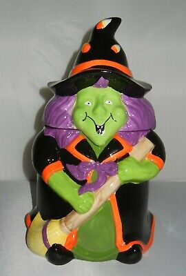"""NEW 13"""" Halloween WITCH COOKIE JAR / Candy Container NIB"""