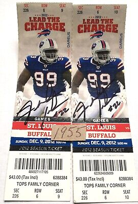 FRED JACKSON Buffalo Bills Autographed FULL Tickets (Set Of 2) SIGNED 2012