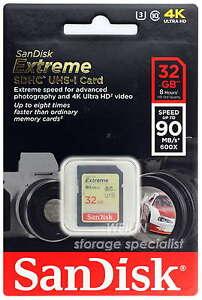 SANDISK-Extreme-32GB-SD-SDHC-Memory-Card-Class-10-UHS-I-90MB-s-600X-32G-U3-4K-HD