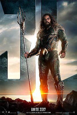 Justice League Movie Poster  24X36    Gal Gadot  Jason Momoa  Aquaman  V4