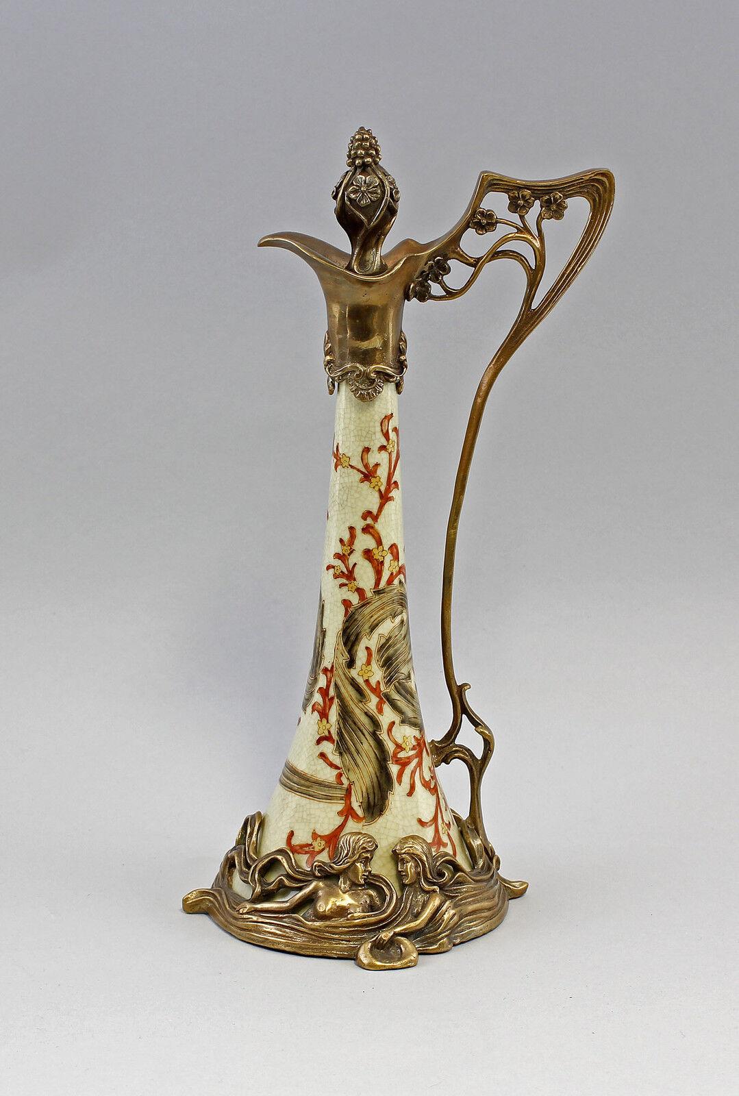 Bronze Ceramics Wine Jug Art Nouveau New 9937328