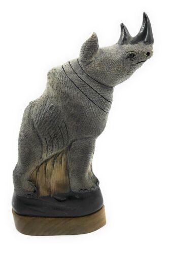 "Hand Carved Water Buffalo Horn Scrinshaw Rhino Carving 11"" New Teak Base"