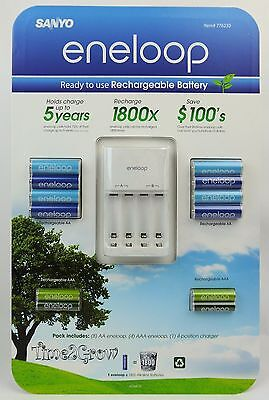 12 Sanyo Eneloop Rechargeable Batteries 8 AA + 4 AAA Charger IMPROVED VERSION  on Rummage