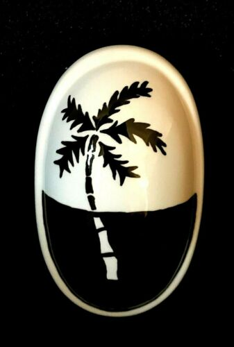 Vintage Lidded Oval Shaped Ceramic Trinket Dish Black & White Palm Tree Signed L