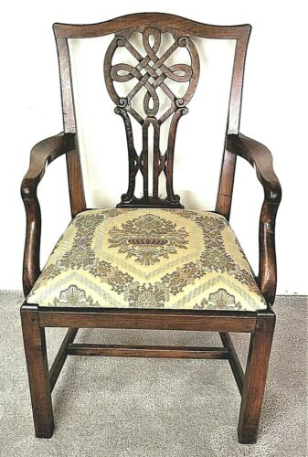 Antique 18th Century Irish Chippendale Carved Mahogany Celtic Knot Armchair