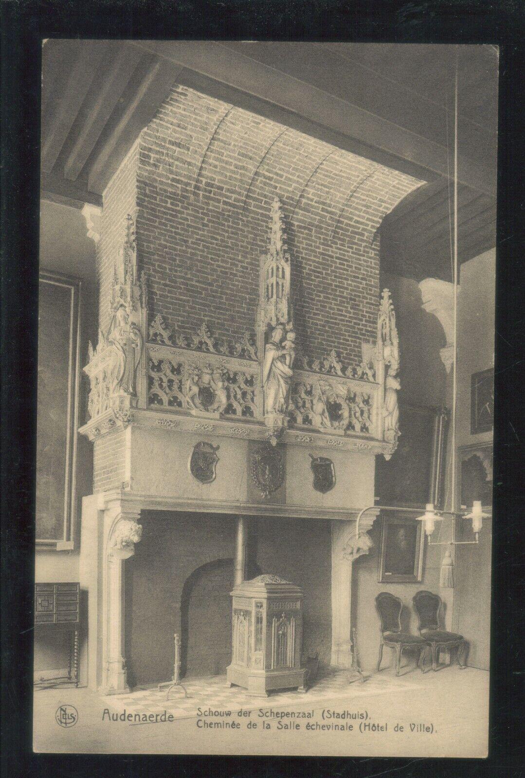 Oude postkaart van Audenaerde ,Schouw der schepenzaal Stadhuis ,,zie foto's ,,O4