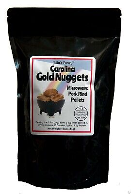 Carolina Gold Nuggets Pork Rinds 1 Lb Microwave, Bake, Air Fry Makes 2 Gallons
