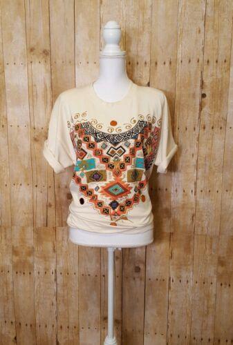 Vintage Sweet Blondie Western Puff Paint Aztec Des
