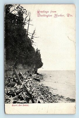 1907 GREETINGS FROM WASHINGTON HARBOR, WI - BLUFF BAY SHORE - Postcard - (Bayshore Wi)
