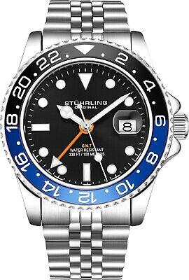 - Stuhrling Aqua-Diver 3968 Swiss Quartz Men's Silver Bracelet Black Dial Watch
