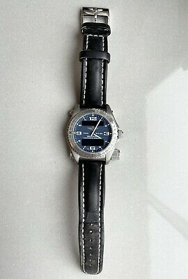 Breitling Emergency Blue Dial Wristwatch With Black Leather Strap