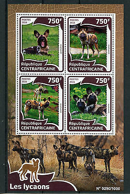 Central African Republic 2016 MNH Wild Dogs 4v M/S Wild Animals African Wild Dog