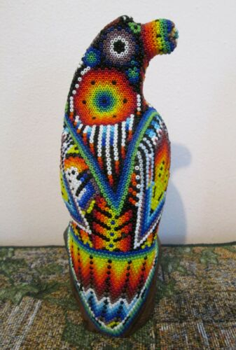 Mexican HUICHOL EAGLE Beaded Beads Figurine Sculpture Native Ethnic Folk Art