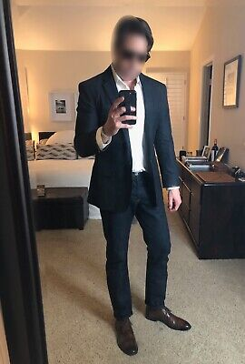 Ultimate John Varvatos Navy Blazer, Leather Accents, Perfect Fit, Sz 40US   Ultimate Leather Vest