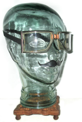 Antique WWII Cesco Goggles Safety Glasses Vtg Old Steampunk Dieselpunk Mad Max
