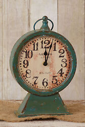 Rustic Metal Pedestal Clock Farmhouse French Country Teal Mantel Shelf Clock