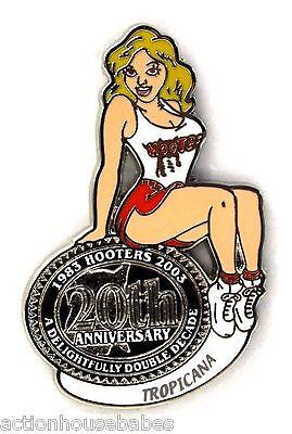 HOOTERS RESTAURANT 20th ANNIVERSARY GIRL TROPICANA  LAPEL BADGE PIN