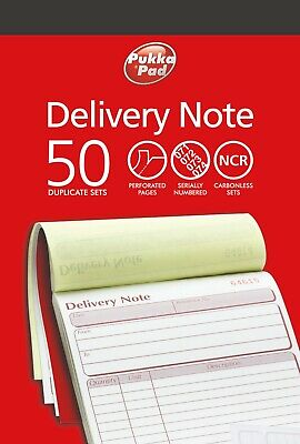 Duplicate Delivery Note Book NCR Carbonless Record Numbered Pad 50 Sets PUKKA Delivery Note Set