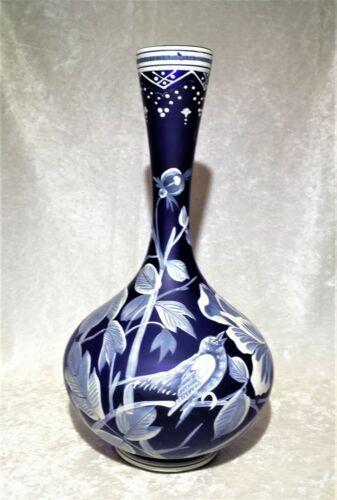 Antique Art Glass Cobalt Blue Vase, Heavy Enamel, Art Nouveau  12 1/2