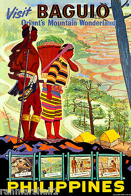 Baguio Philippines Island Visit Vintage Travel Advertisement Art Poster