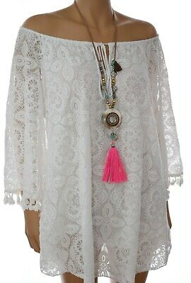 Baumwolle Extra Langes Tunika (Extra lange Ibiza Hippie Tunika aus Spitze Long Carmen Bluse 42 44 46 48 Weiß )