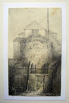 LATHBURY FAMILY (3 ) A CONTINENTAL ROUND TOWER WITH FLAGPOLE PENCIL C1830