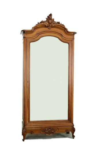 Antique French Louis XV Style Single Door Walnut Armoire Wardrobe